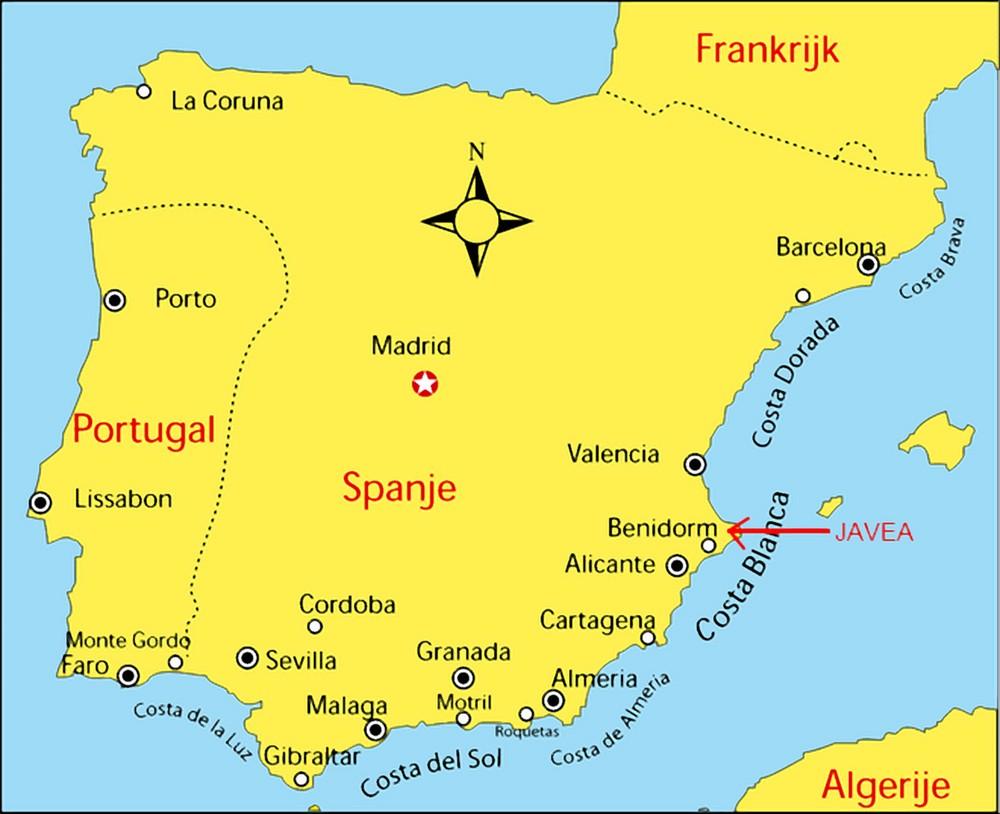 carte espagne region javea